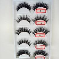 5styles/box High Quality 3D Natural False Fake Eyelashes Mink Hair Handmade Eye Lashes Strengthen The Eyelash