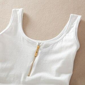 Image 4 - Hàng Mới Về Thời Trang Mùa Hè Khoác Cotton Vest Không Tay Xe Tăng Cao Cấp Áo Kẹo Màu Cơ Bản Vụ Áo Ngực Hàng Đầu phụ Nữ