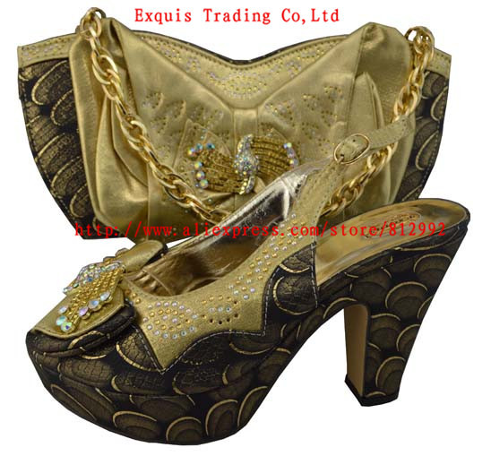 ФОТО fashion Italy shoe and bag set matching, for party and wedding size38-42 GF09 gold color
