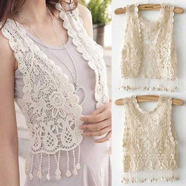 b75090c04ef79e 2018 Summer New Knitting Short sleeve Vest Women Girl Crochet Tassel Shrug  Top Gilet Waistcoat Cardigan Women