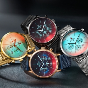 Image 3 - Nagroda nowa moda chronograf mężczyźni Top marka luksusowe kolorowe zegarek wodoodporny zegarek sportowy mężczyzn zegar ze stali nierdzewnej