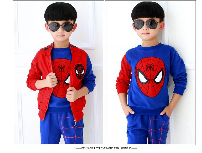 Retail Autumn winter Children Boys Outerwear Clothing Coats Spiderman Jacket +pants +vest three Pieces Kids Suits HB2033 free shipping winter autumn children clothing set leisure three pieces sweater vest pants boy sport suit