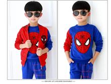 Retail Autumn winter Children Boys Outerwear Clothing Coats Spiderman Jacket +pants +vest three Pieces Kids Suits HB2033