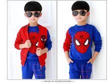 Retail Autumn winter Children Boys Outerwear Clothing Coats Spiderman Jacket +pants +vest three Pieces Kids Suits HB2033