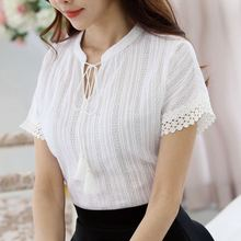 Cotton Blue Pink White Fashion Women Summer Blouse Shirt Lace Hollow Short Sleeve Slit Solid Top Female Slim Elegant OL blusas