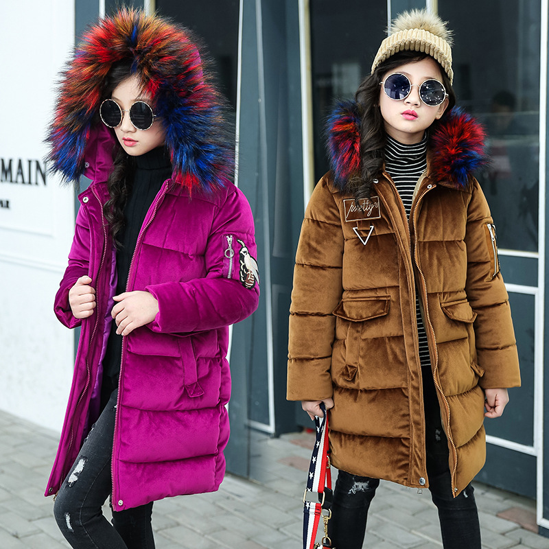 Fashion Teenager Girls Coat Winter Long Sleeve Section of The New Cotton Padded Hooded Jacket Big Colorful Fur Collar 5-14 Years 2017 cheji men and womens outdoor cycling jersey bike breathable bib shorts ropa ciclismo bicycle couples clothing sport suit