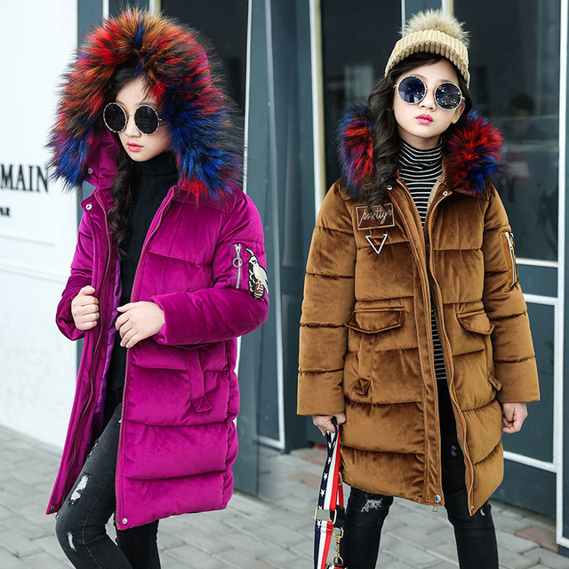 Fashion Teenager Girls Coat Winter Long Sleeve Section of The New Cotton Padded Hooded Jacket Big Colorful Fur Collar 5-14 Years