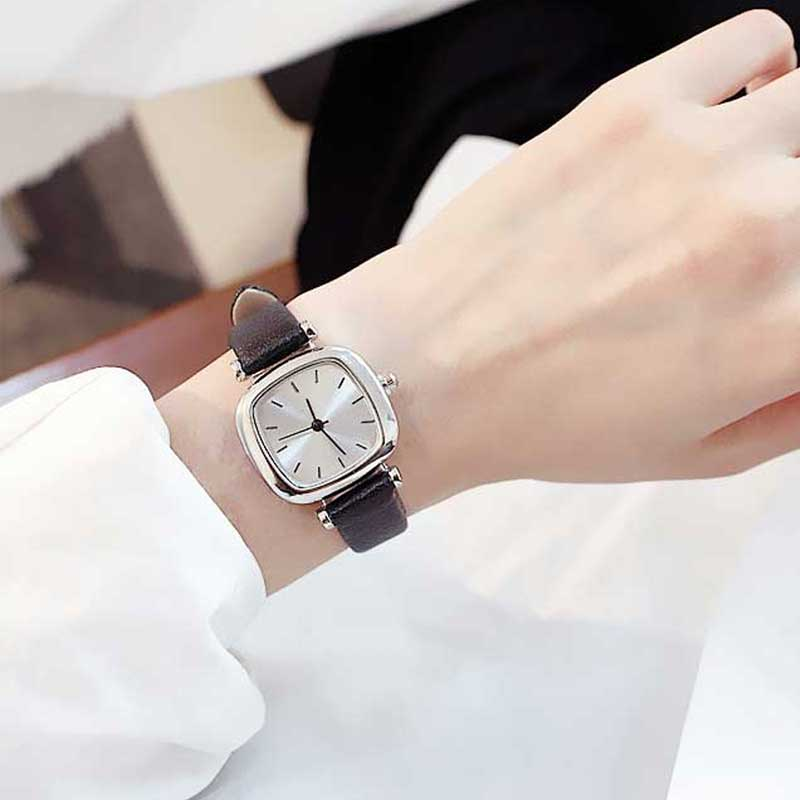 Hot Top square women quartz watch leather ladies Analog small dail watch Female student montre femme wrist watches(China)