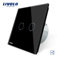 Livolo EU standard, Wall Switch, VL C702S 12, 2 Gang 2 Way Control, Black Crystal Glass Panel, Wall Light Touch Screen Switch