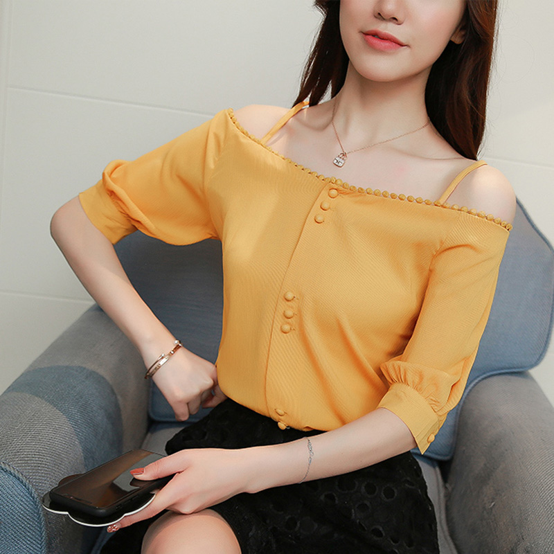 Women Fashion Off Shoulder Chiffon Lace Blouses Shirts Female Solid Color Puff Sleeve Elegant Sweet Tops Woman Yellow Clothes