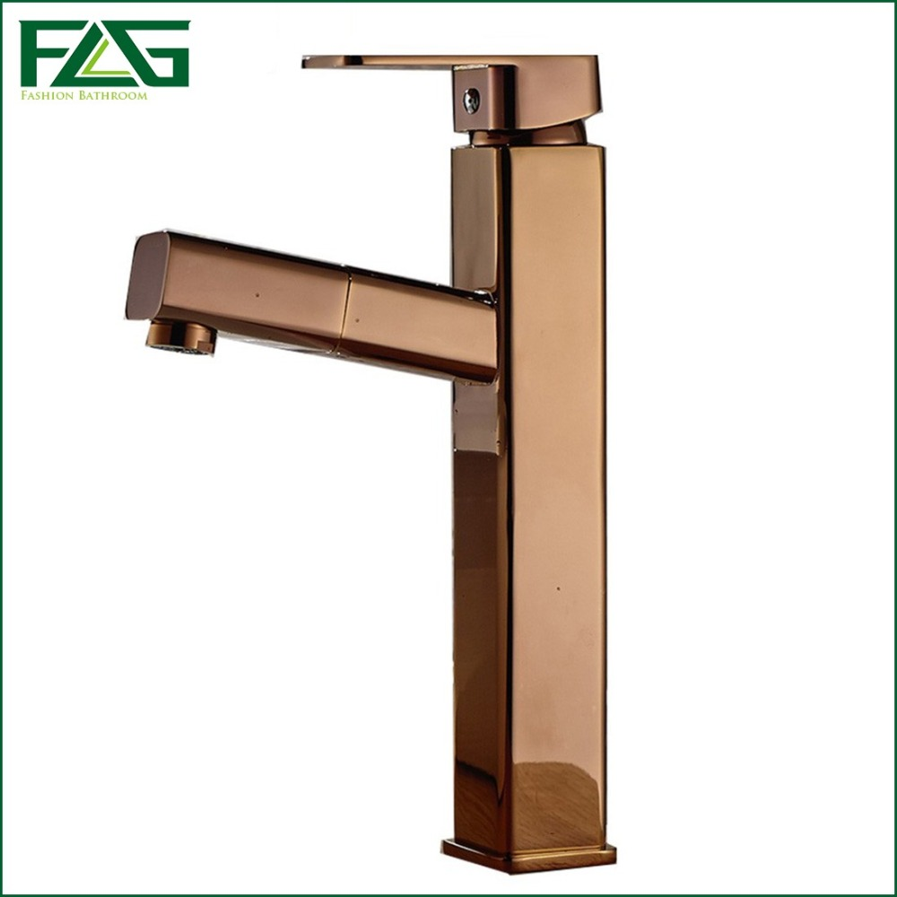 Basin Faucet Rose Golden Plated Platform Heightening Rubinetto Pull Out Deck Mounted  Bathroom Tap Vanity Sink Robinet FLG602B-M fashion design goose neck brass robinet bathroom basin tap faucet