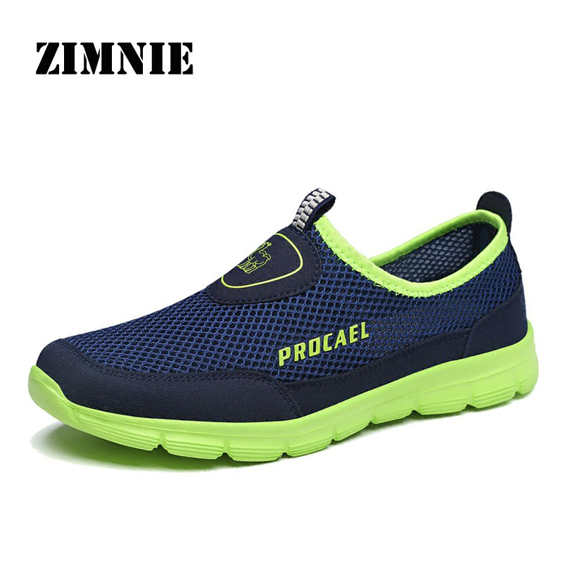 ZIMNIE Men Shoes Summer Sneakers Breathable Fashion Mesh Casual Shoes Comfortable Mens Mesh Upper Slip-On Shoes Large Size 39~45