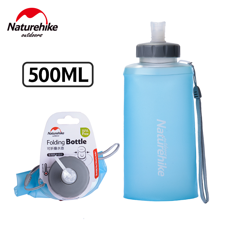 NatureHike 500ML Mini Sports Bottle Water Bottles Outdoor Cup Portable Silicone Folding Drinkware With Straw NH61A065-B outdoor sports aluminum water bottle green 500ml