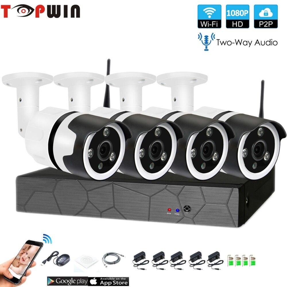 4CH a due vie audio colloquio HD Wireless NVR Kit P2P 1080 p Indoor Outdoor Visione Notturna di IR di Sicurezza 2.0MP IP WIFI della macchina fotografica di Sistema CCTV