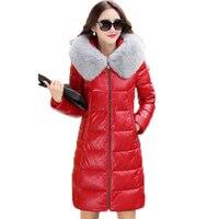 2018 Genuine Leather Jacket Women European White cotton Coat Slim Long Fox Fur Collar Sheepskin Leather Jackets 5XL Y868