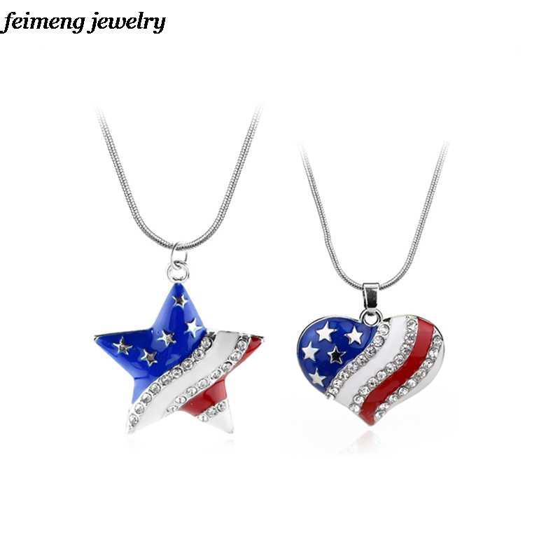 Amerika Serikat Bendera Amerika Serikat Enamel Biru dan Merah Kristal Berlian Imitasi Hati/Star Patriotik 4th Juli Hari Kemerdekaan Liontin Kalung