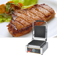 220V 1800W Non Stick Commercial Electric Contact Grill Steak Machine Single Plate Electric Griddle Grill Free