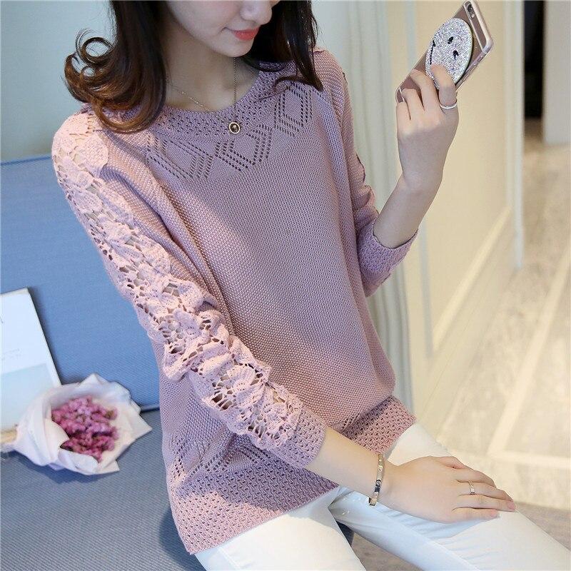 43 nueva primavera de algodón hueco Cuello Redondo vestido de suéter Raglán cami