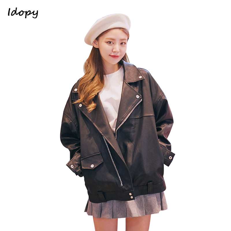 Idopy Women`s Faux Leather Jacket Biker Motorcycle Style Short Loose Fit Korean Fashion Coat For Female