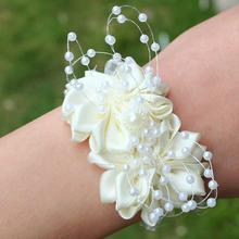 6piece/lot White Handmade Pearls Beaded Wrist Corsage Wedding Ivory Artificial Flowers Bracel Bridesmaid Ribbon Corsages SW0679