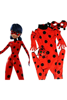 The Miraculous Ladybug Kids Cosplay Costume Suit Girls Marinette Cosplay Costume Jumpsuit Mask Bag