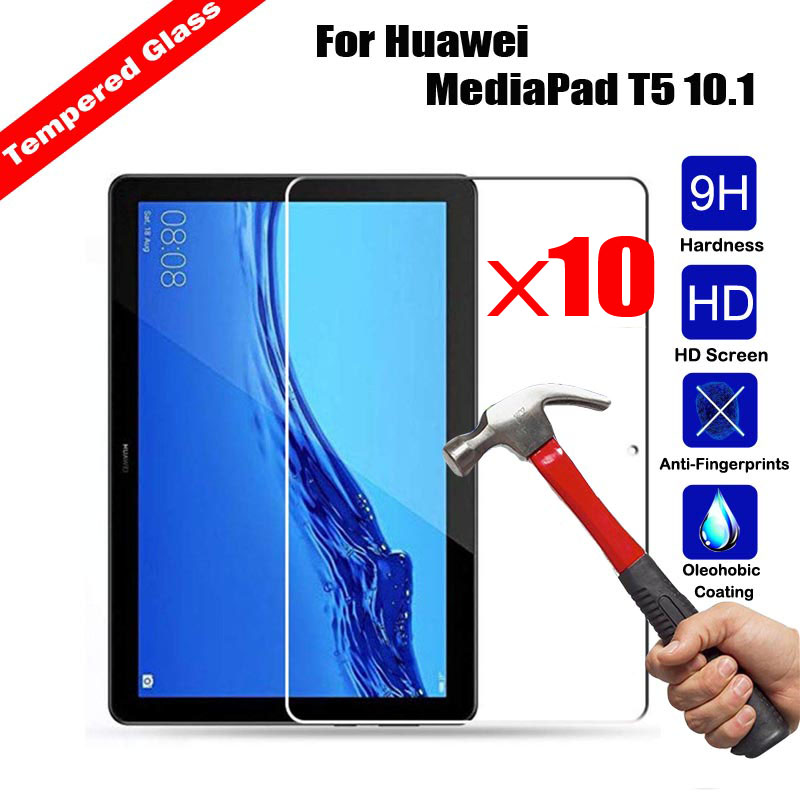 10Pcs Wholesale NEW Tempered Glass Tablet Screen Protector For Huawei MediaPad T5 10.1 Explosion proof 9H Hardness Shield Film