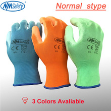 ФОТО nmsafety colorful polyester cotton knit coated pu rubber palm protective glove safety glove work gloves