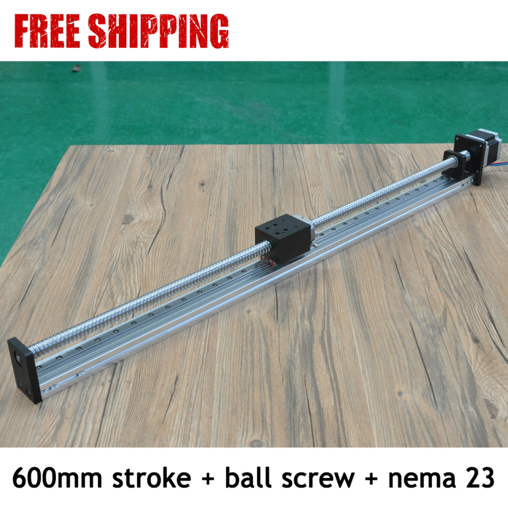 Free Shipping Paypal Accepted 600mm Stroke Horizontal Or Vertical Usage Cnc Linear Guide Rail With Integrated Stepper Motor