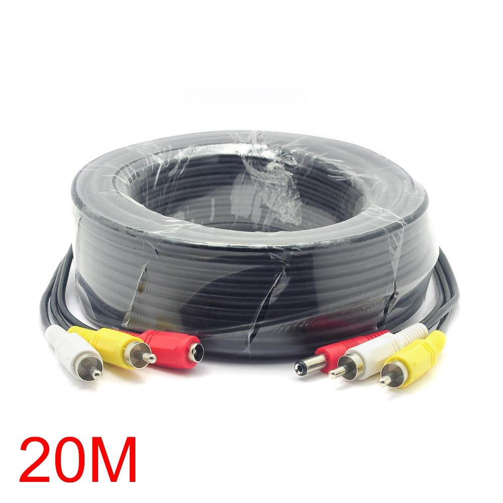 bilder für 20 Mt/65FT 2 RCA DC Stecker Audio Video Power AV Kabel All-In-One CCTV Draht