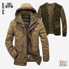 AFS JEEP 2017 Große Größe Baumwolle Verdicken Winterjacke Männer parka Casual Warmen Mantel männer kaschmir kleidung Jacken männer