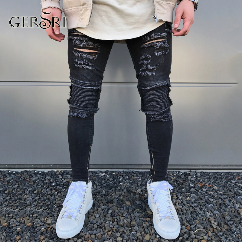 9656883f42a1 Detail Feedback Questions about Gersri New Black Ripped Jeans Men With  Holes Denim Super Skinny Brand Fashion Slim Fit Jean Pants Scratched Biker  Cool Jeans ...
