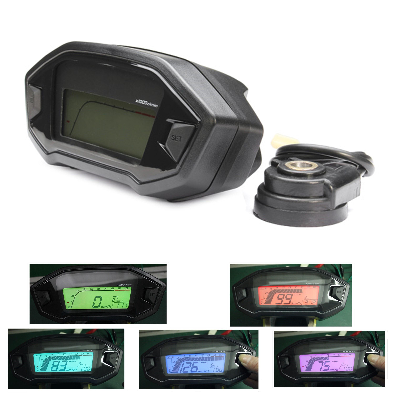 7 Color Adjustable Universal Motorcycle Lcd Digital