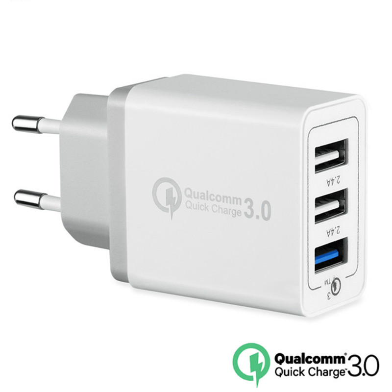 3 ports Quick Charger QC 3.0 30W USB Charger EU US Plug Fast Charger QC3.0 For iphone 7 8 ipad Samsung S8 Huawei Xiaomi
