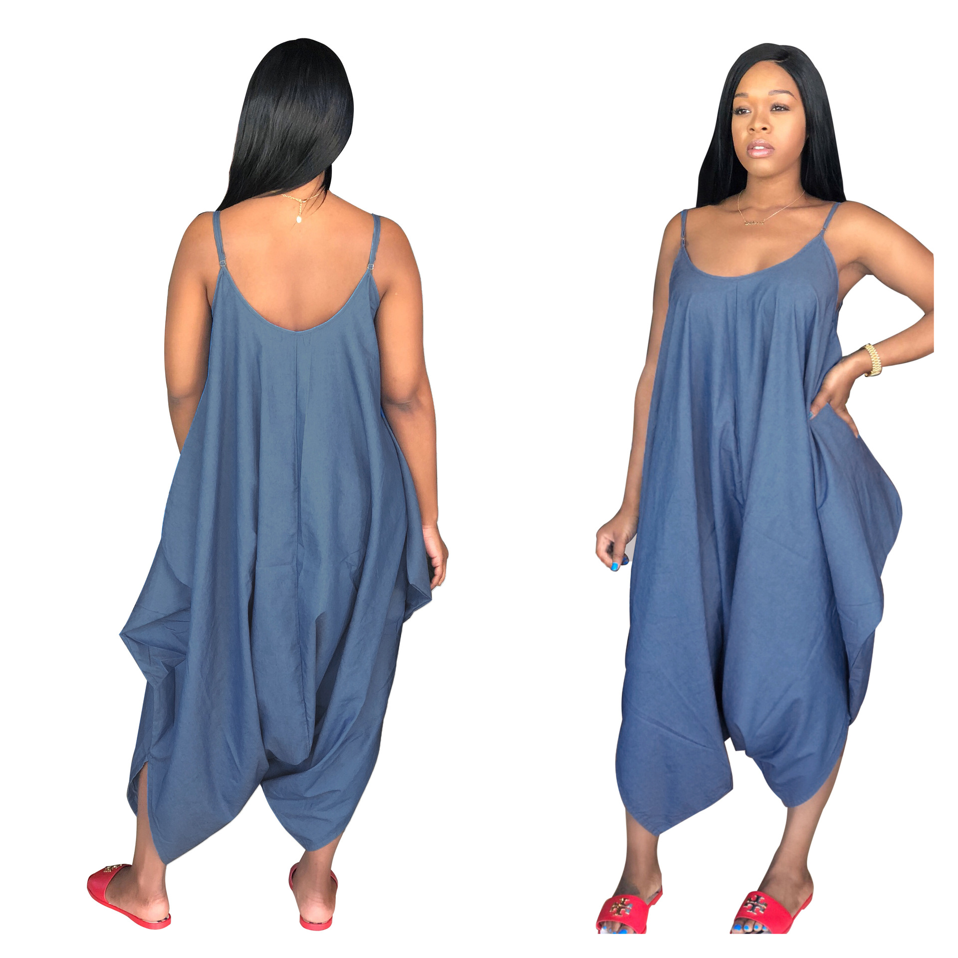 professional sale popular design nice cheap US $18.31 20% OFF|Plus Size 3 XL casual Jumpsuit Big Women Loosed Paysuit  Stripe confortable Jeans Jumpsuit Denim SMR9004-in Jumpsuits from Women's  ...