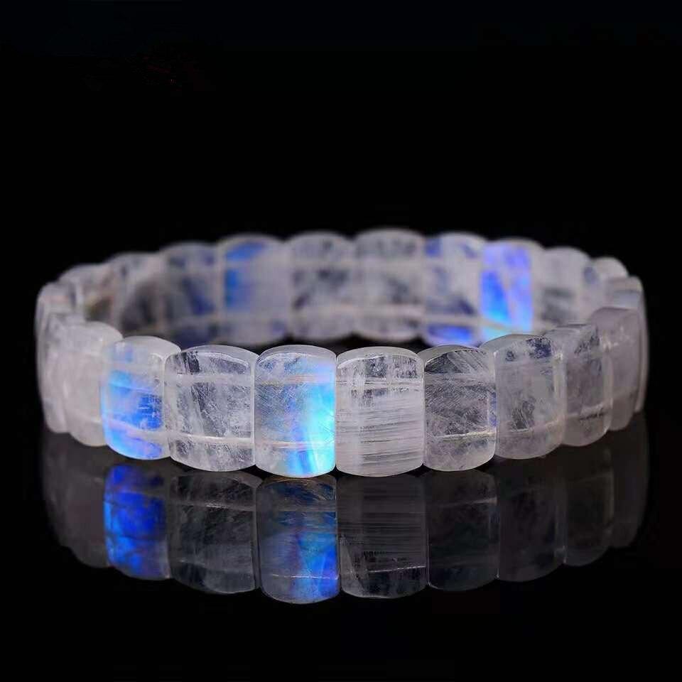 Femmes Hommes Bracelet Naturel Moonstone Rectangle En Forme de Perles Bijoux Transparent Forte Bleu Lumière Stretch Bracelets