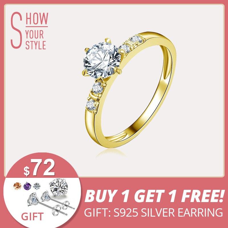 AINUOSHI 10 k Solide Jaune Or De Mariage Anneau 0.8 ct Round Cut Diamant Simulé Anillos Mujer Réel Bague De Mariage En Or pour les Femmes
