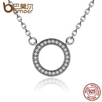 BAMOER Classic Style 925 Sterling Silver Hearts Of Brand Clear CZ Round Shaped Necklaces For Women