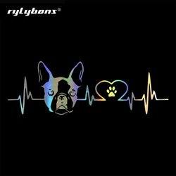 Rylybons Nieuwe Auto Styling 20Cm * 6.7Cm Boston Terrier Hond Vinyl Decal Auto Stickers Op De Auto Accessoires voor Auto Producten
