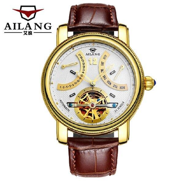 AILANG, новинка, римские мужские многофункциональные турбийон часы, автоматические, заводные, настоящая кожа, наручные часы, неделя, Calendar Relojes W022 - 4