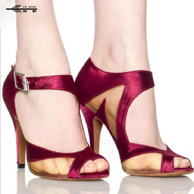 Mid Or High Heels Buckle Satin Lady Womens Latin Dance Shoes Satin/Ballroom/Tango/Salsa Dance Shoes 6cm/ 7.5cm High Heels