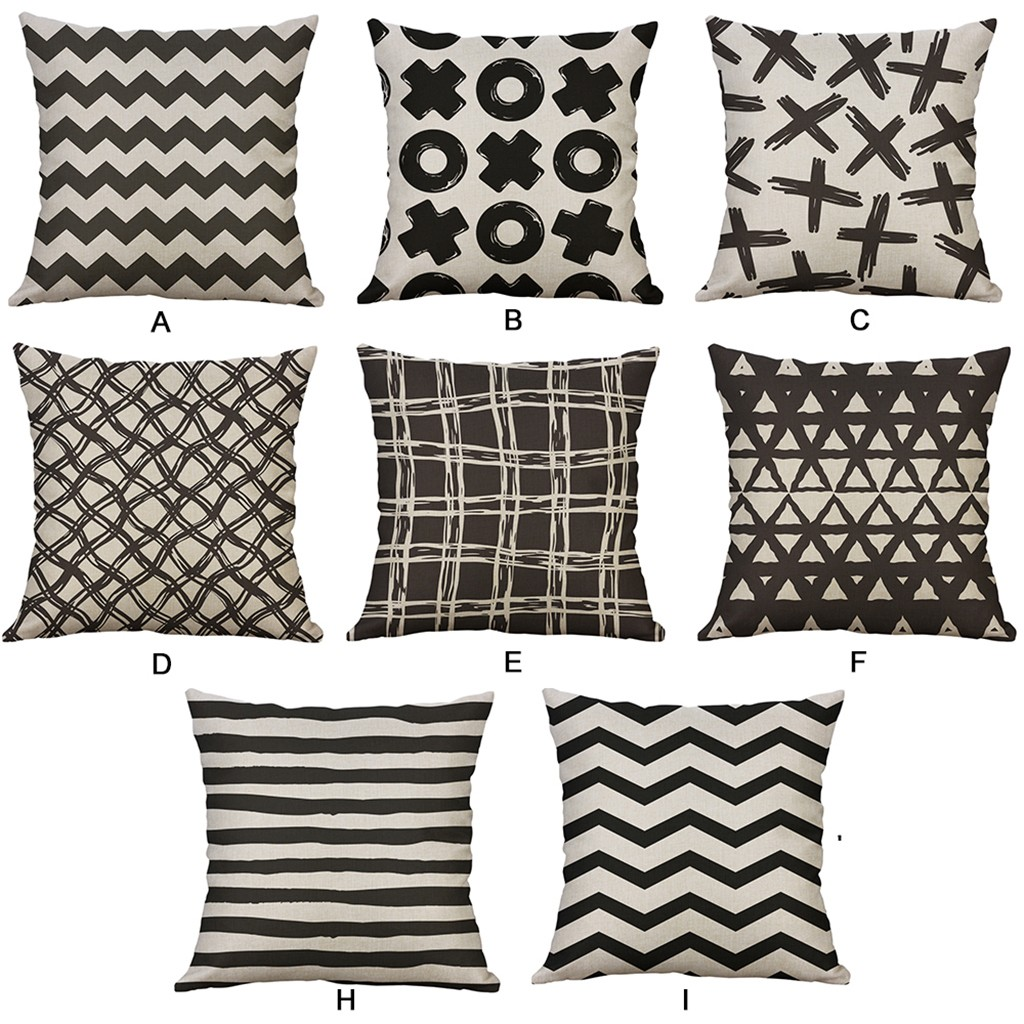 Geometric Cushion Cover Black And White Linen Throw Pillow - Sofa Cushions Black And White
