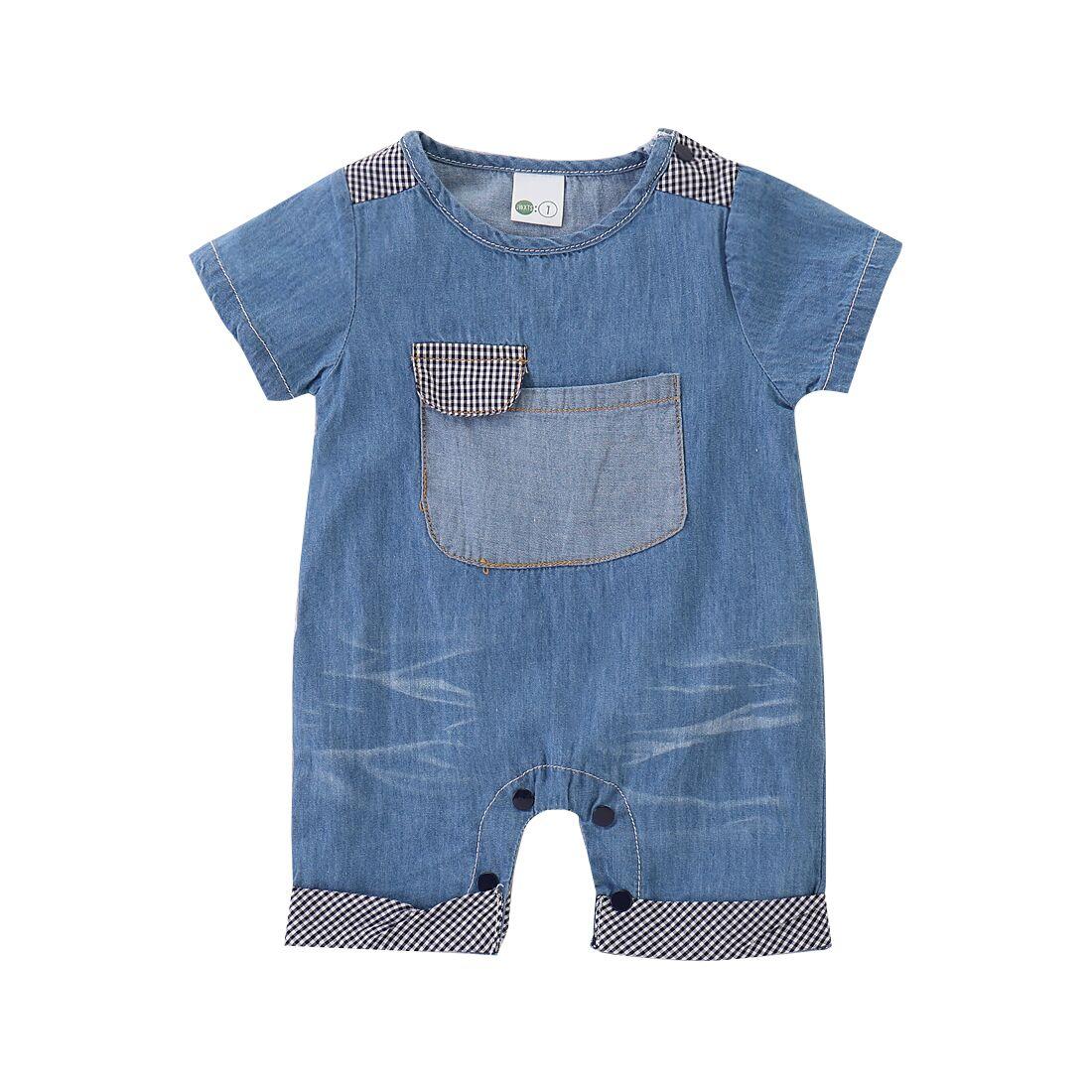 1-5y Zomer Baby Kids Baby Boy Meisjes Romper Korte Mouwen Pocket Denim Blauw Jumpsuit Outfits Kleding Goede Warmteconservering