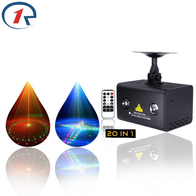 ZjRight IR Control 20patterns Red Green Laser Light Blue Led mix effect Stage Lights KTV Disco dj family party bar Xmas Lighting transctego laser disco light stage led lumiere 48 in 1 rgb projector dj party sound lights mini laser lamp strobe bar lamps