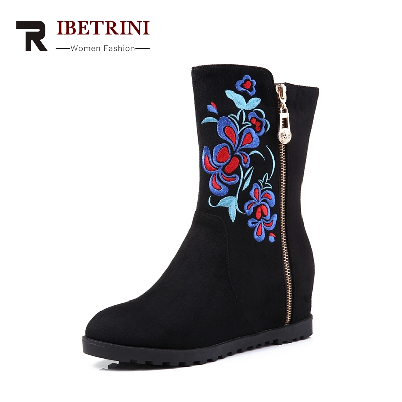 RIBETRINI 2018 New Design Flower Print Ethnic womens Shoes Zipper On Both Sides Inner Increase Size 34-40 Comfortable Footwear