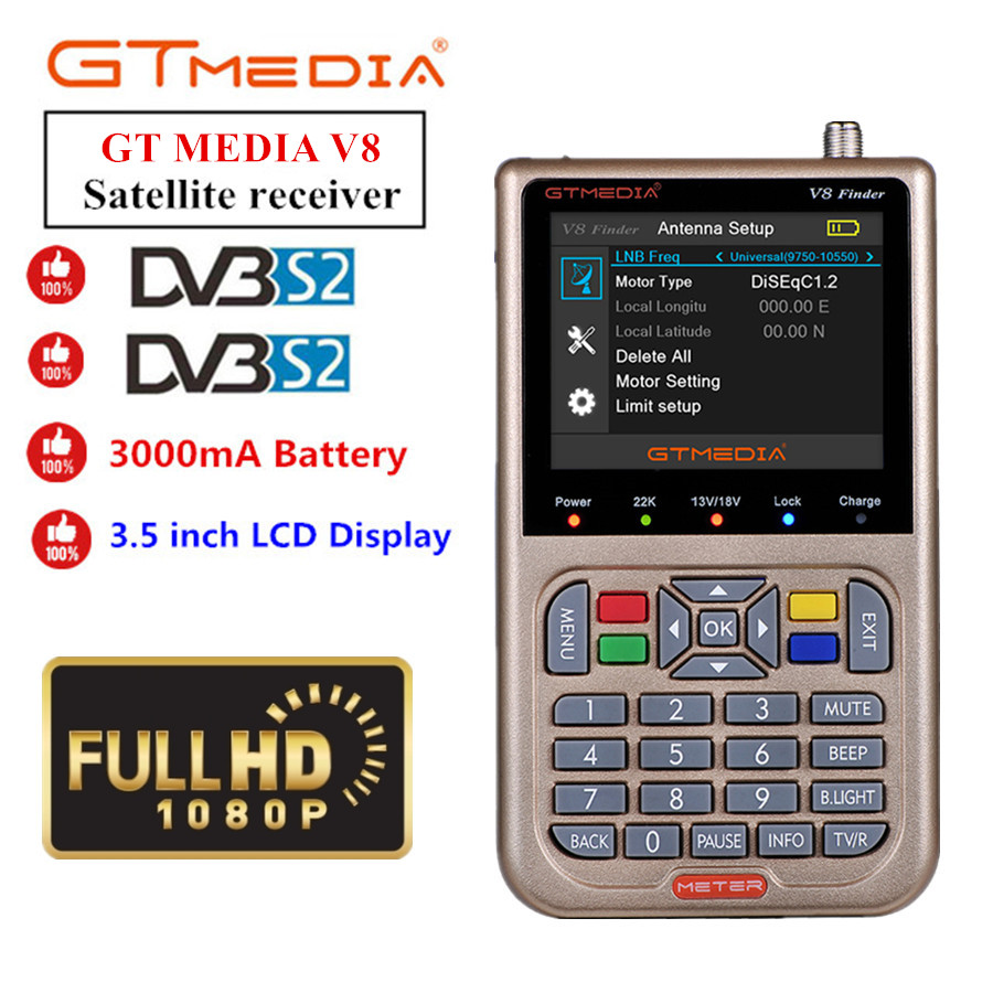 GT MEDIA /Freesat V8 Finder HD DVB-S2 Digital Satellite Finder High Definition Sat Finder DVB S2 Satellite Meter Satfinder 1080P