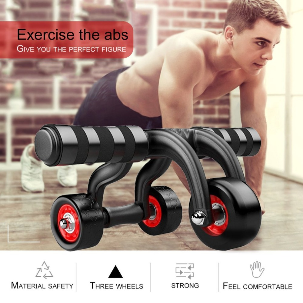 Three Wheeles Abdominal Power Wheel Muscle Exercise Abs Roller Home Gym Training exercising belly push wheel sport pulley roller ...