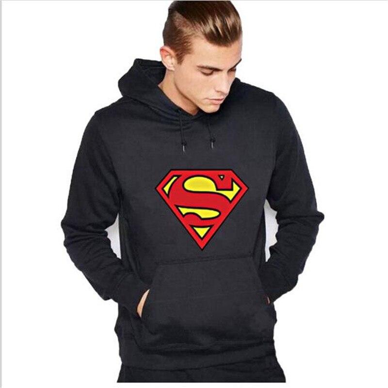 В Новинка 2017 г. мужские Длинные рукава толстовки пальто Прохладный Супермен пуловер с принтом с капюшоном человек толстовка мужская костюм