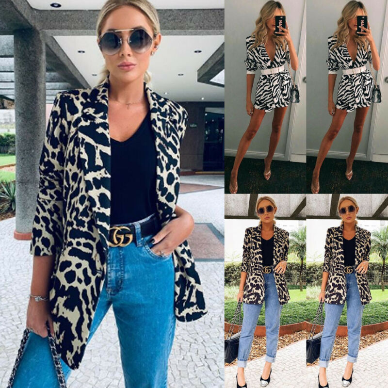 Hirgin Leopard Jacket Women Sweater Top Warm Casual Winter Cardigan Long Sleeve Coat