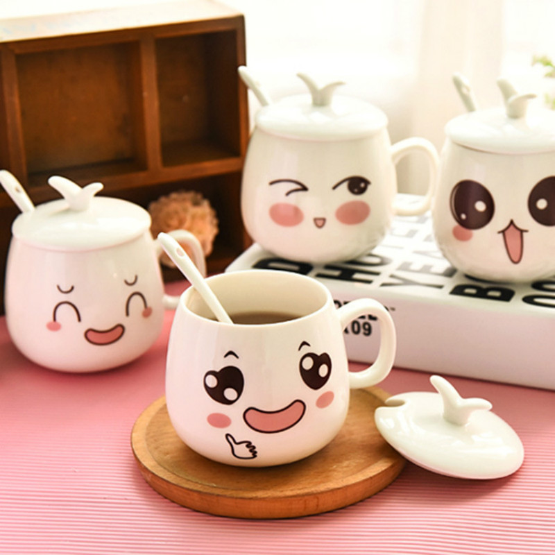 Creative Cartoon Cute Expression <font><b>Cup</b></font> Ceramic Single Layer Milk Breakfast <font><b>Cup</b></font> Couple <font><b>Coffee</b></font> <font><b>Cup</b></font> Tea <font><b>Cup</b></font> with Lid Spoon Mug 300ml image