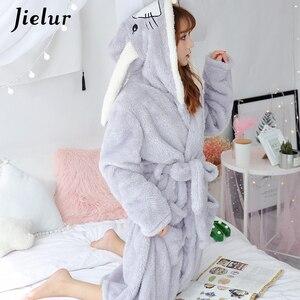 Image 4 - Jielurサンゴのベルベットのバスローブ女性漫画かわいい暖かいフード付きローブウサギフランネル着物バスローブドレッシングガウンパジャマ